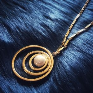 A New Day Tripp's Circle & Pearl Necklace - Gold